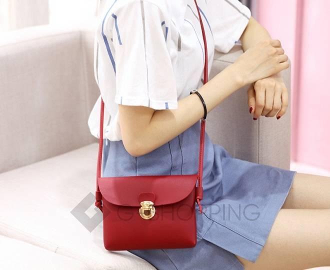 Женская маленькая красная сумка кросс-боди с портфельной застежкой C106-08, фото 4