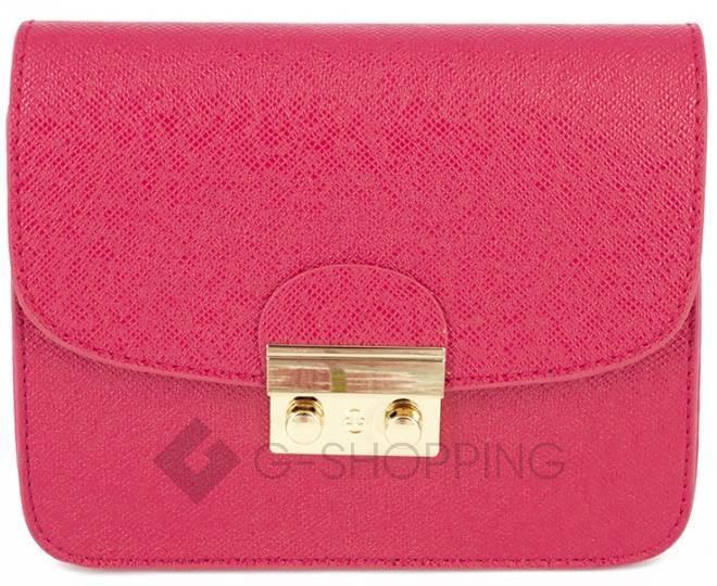 Женская ярко-розовая сумка кросс-боди на цепочке с портфельной застежкой C113-10, фото 5