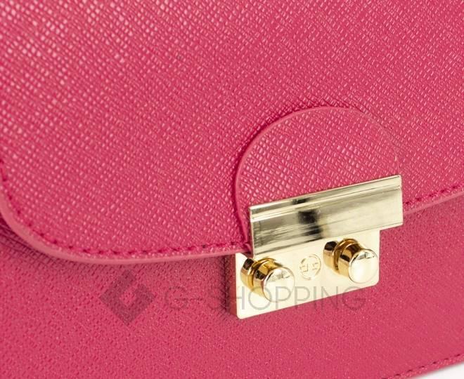 Женская ярко-розовая сумка кросс-боди на цепочке с портфельной застежкой C113-10, фото 7