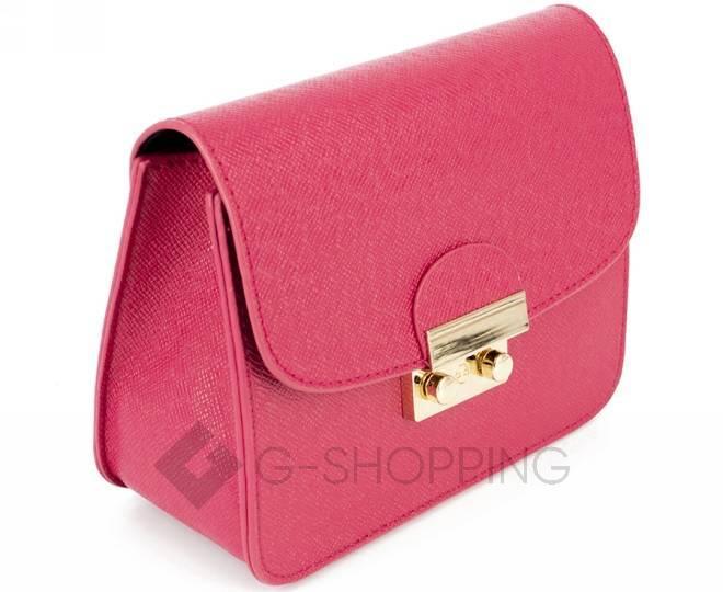 Женская ярко-розовая сумка кросс-боди на цепочке с портфельной застежкой C113-10, фото 4