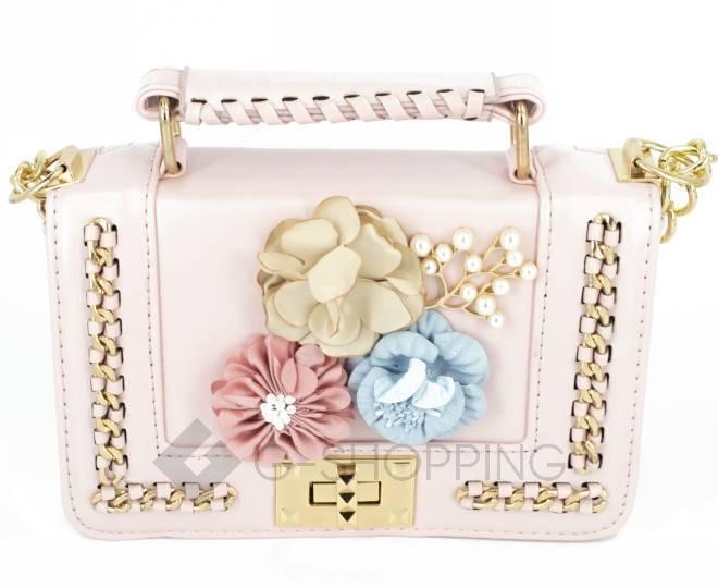 Женская розовая сумка кросс-боди на цепочке с поворотным замком Kingth Goldn, фото 5
