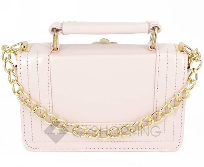 Женская розовая сумка кросс-боди на цепочке с поворотным замком Kingth Goldn, фото 6