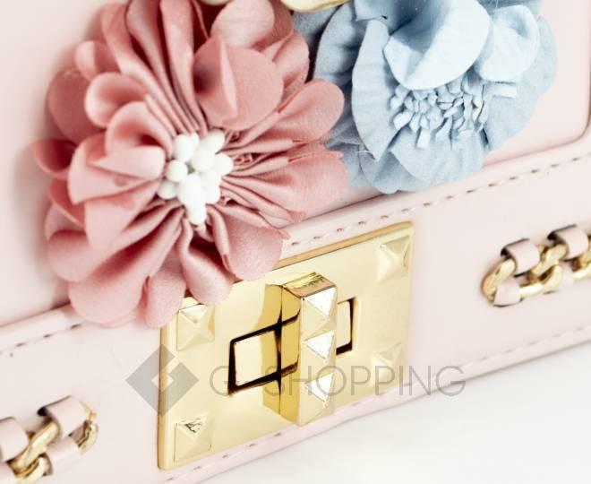 Женская розовая сумка кросс-боди на цепочке с поворотным замком Kingth Goldn, фото 7