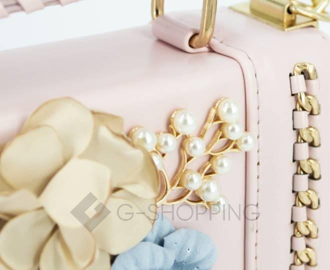 Женская розовая сумка кросс-боди на цепочке с поворотным замком Kingth Goldn, фото 8