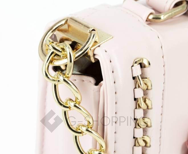 Женская розовая сумка кросс-боди на цепочке с поворотным замком Kingth Goldn, фото 9