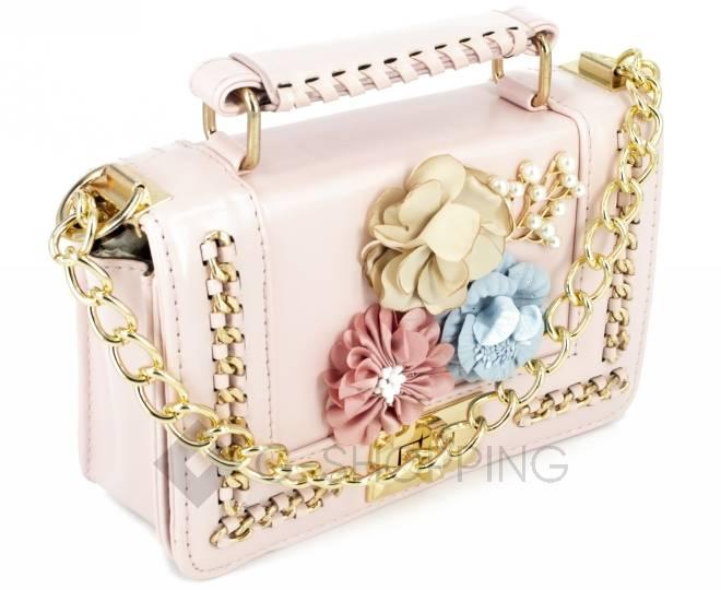 Женская розовая сумка кросс-боди на цепочке с поворотным замком Kingth Goldn, фото 4