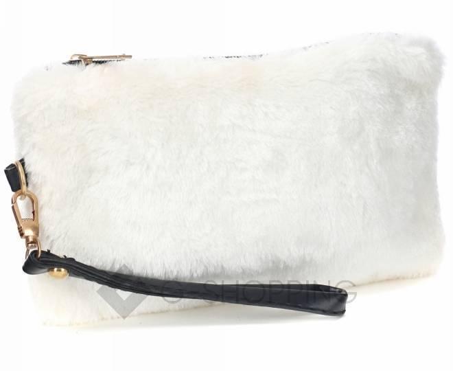 Сумочка-клатч на молнии из искусственного меха белая C145-02 KINGTH GOLDN, фото 7