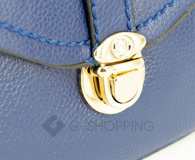 Женская синяя сумка кросс-боди с портфельной застежкой C148-05 Kingth Goldn, фото 9