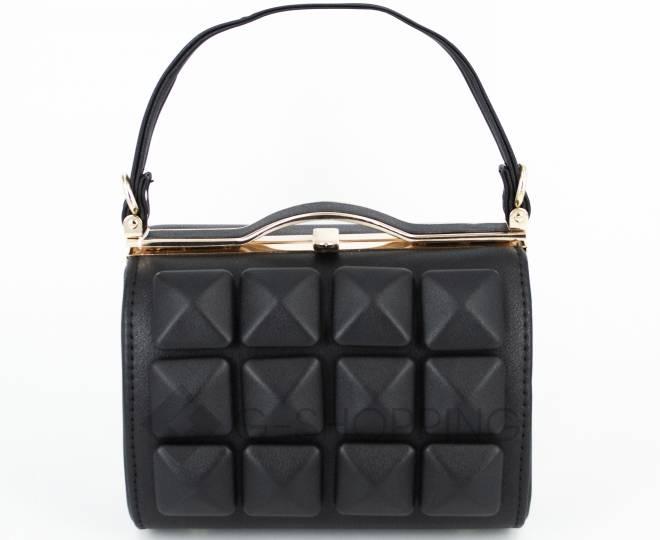 Женская маленькая черная сумка с застежкой фермуар C149-01 Kingth Goldn, фото 2