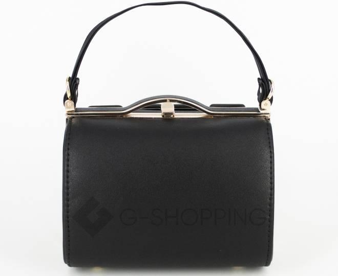 Женская маленькая черная сумка с застежкой фермуар C149-01 Kingth Goldn, фото 3