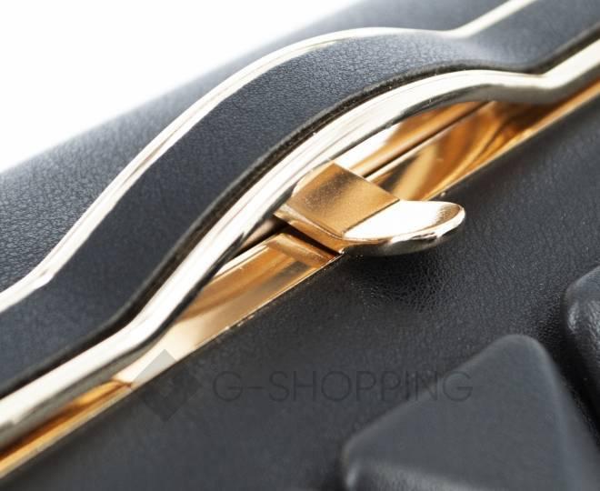 Женская маленькая черная сумка с застежкой фермуар C149-01 Kingth Goldn, фото 4