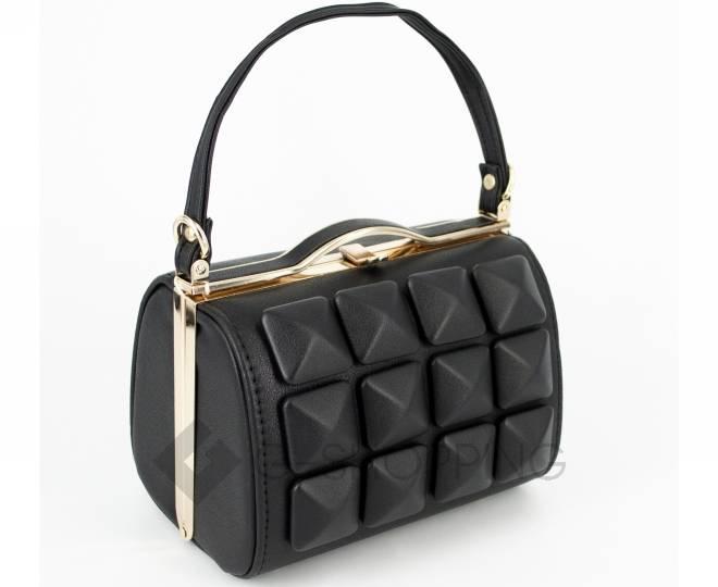 Женская маленькая черная сумка с застежкой фермуар C149-01 Kingth Goldn, фото 1