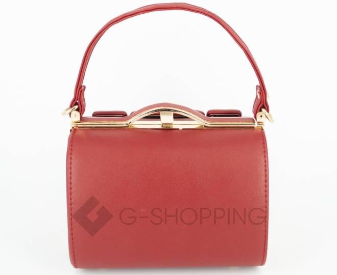 Женская маленькая красная сумка с застежкой фермуар C149-09 Kingth Goldn, фото 2