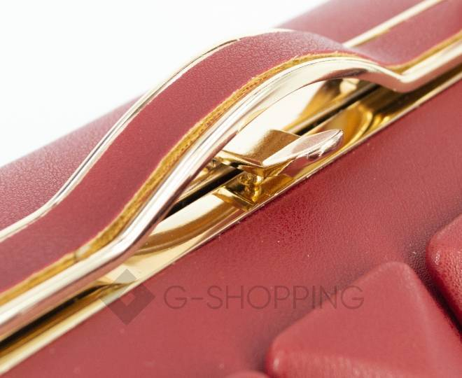 Женская маленькая красная сумка с застежкой фермуар C149-09 Kingth Goldn, фото 3
