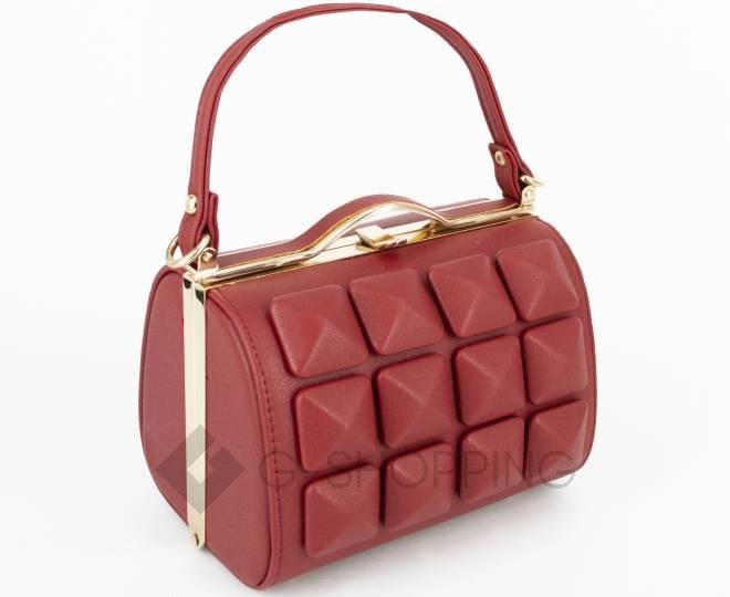 Женская маленькая красная сумка с застежкой фермуар C149-09 Kingth Goldn, фото 1