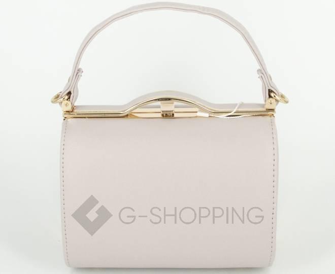 Женская маленькая бежевая сумка с застежкой фермуар C150-02 Kingth Goldn, фото 5
