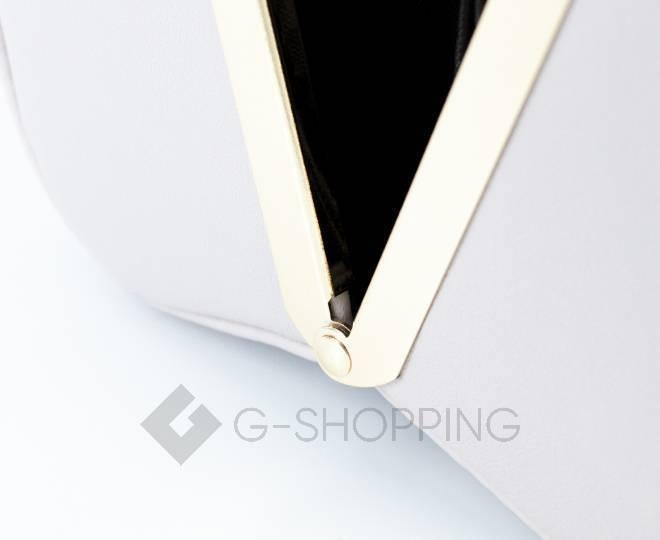 Женская маленькая бежевая сумка с застежкой фермуар C150-02 Kingth Goldn, фото 3