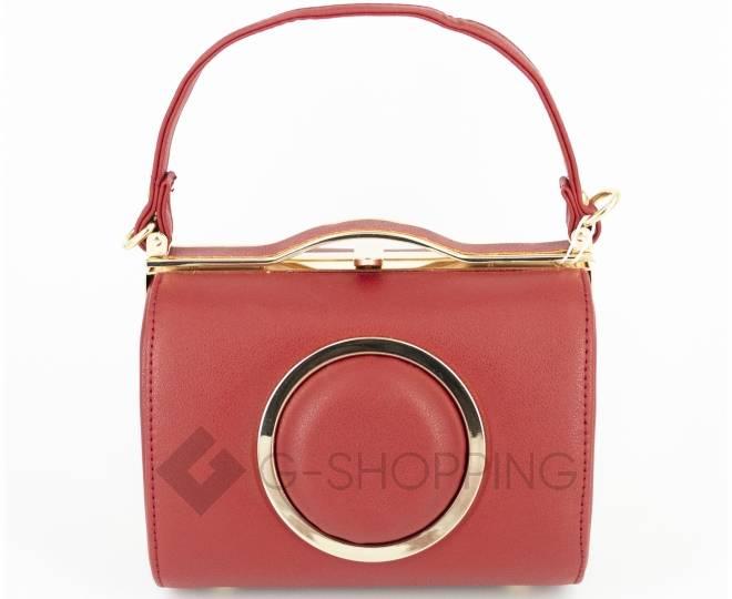 Женская маленькая красная сумка с застежкой фермуар C150-09 Kingth Goldn, фото 2