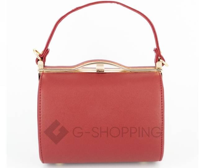 Женская маленькая красная сумка с застежкой фермуар C150-09 Kingth Goldn, фото 3