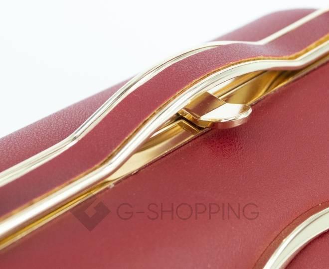 Женская маленькая красная сумка с застежкой фермуар C150-09 Kingth Goldn, фото 4