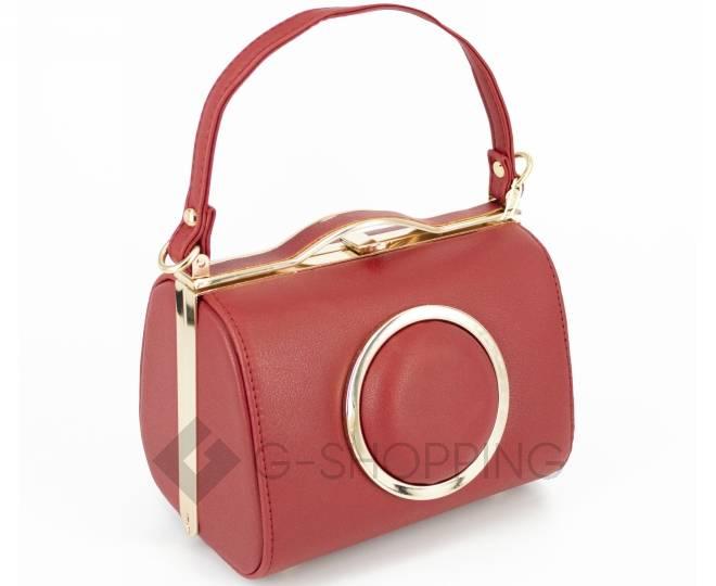Женская маленькая красная сумка с застежкой фермуар C150-09 Kingth Goldn, фото 1