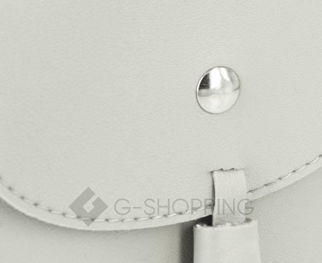 Женская маленькая серая сумка на магнитной кнопке C097, фото 7