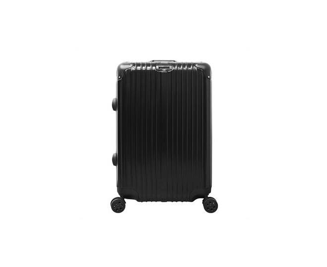 На фото Пластиковый чемодан на колесиках чёрный DL072 3,8кг