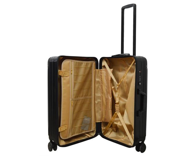 Пластиковый чемодан на колесиках чёрный DL072 3,8кг, фото 4