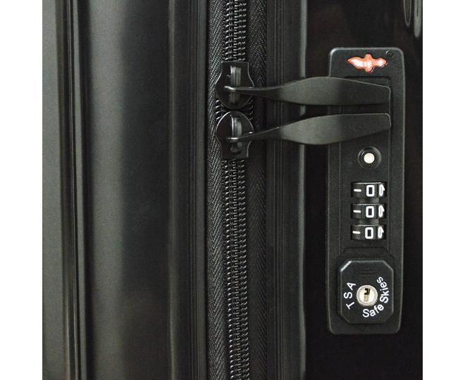 Пластиковый чемодан на колесиках чёрный DL072 3,8кг, фото 7