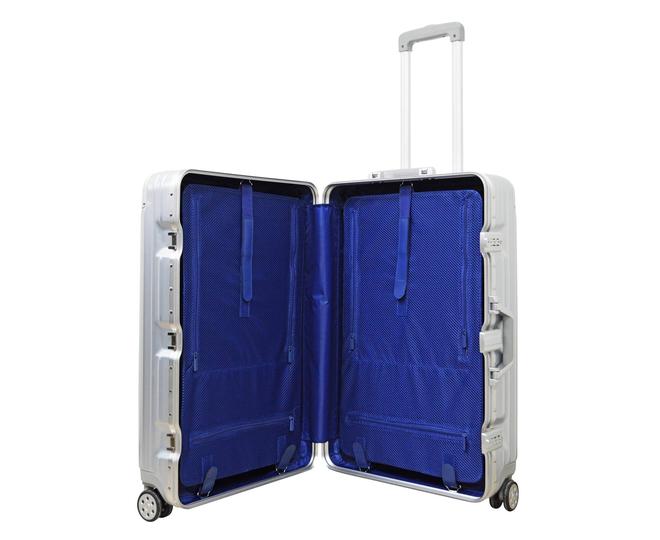 Пластиковый чемодан на колесиках серебряный РС151 5,4кг, фото 2