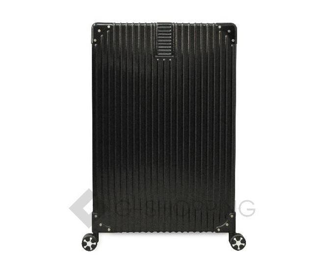 Пластиковый чемодан на колесиках черный, фото 6