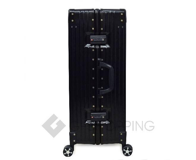Пластиковый чемодан на колесиках черный, фото 7