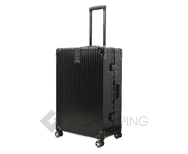 Пластиковый чемодан на колесиках черный, фото 5