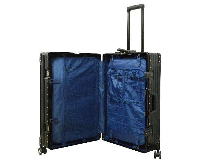 Пластиковый чемодан на колесиках черный, фото 8