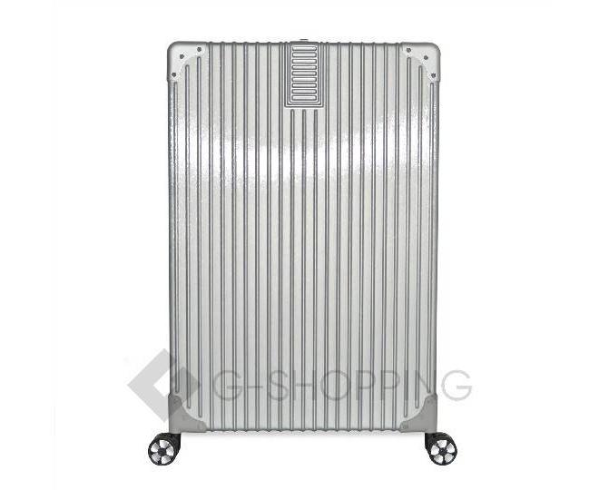 Пластиковый чемодан на колесиках серебристый DL068 5,3кг, фото 2