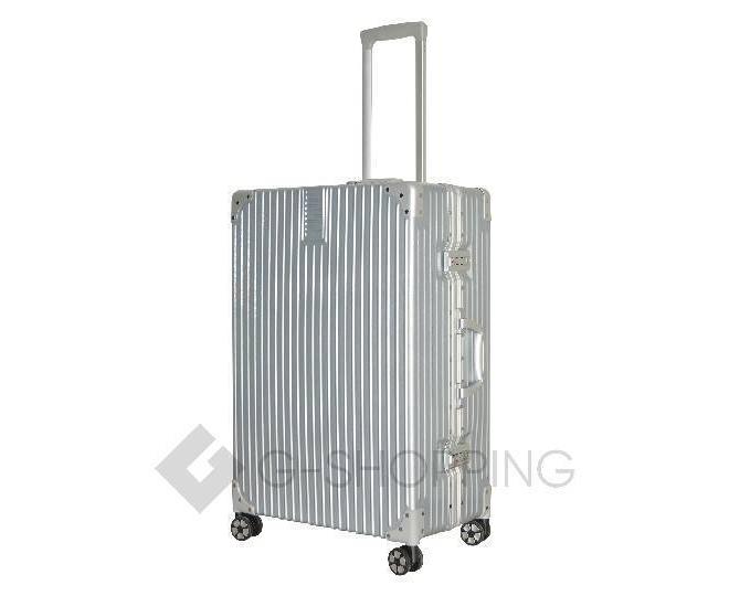 Пластиковый чемодан на колесиках серебристый DL068 5,3кг, фото 1