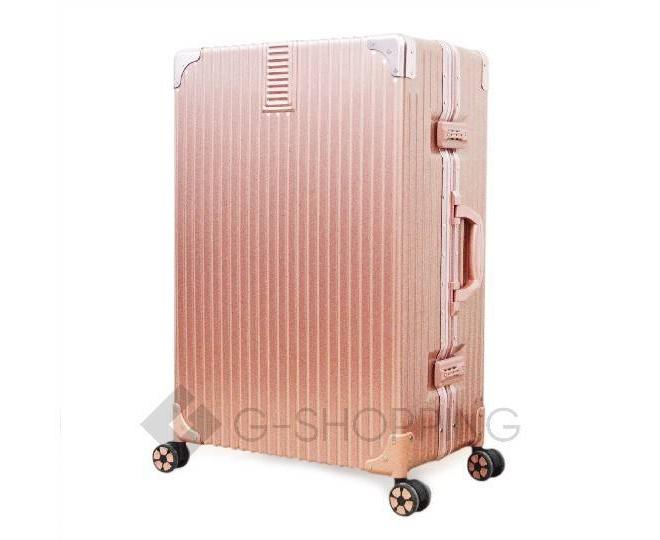 Пластиковый чемодан на колесиках розовый DL068 5,3кг, фото 5
