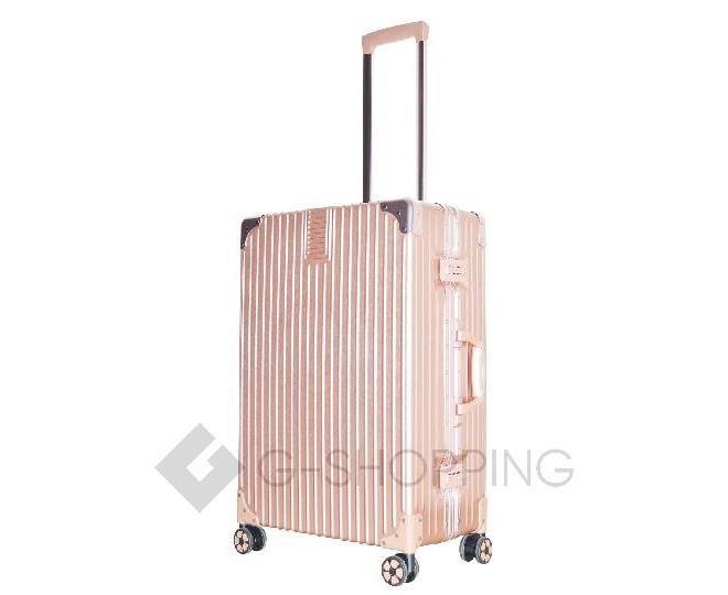 Пластиковый чемодан на колесиках розовый DL068 5,3кг, фото 6