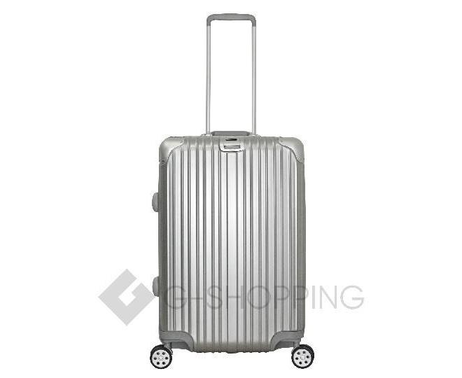 Пластиковый чемодан на колесиках серебристый  DL072 3,8кг, фото 5