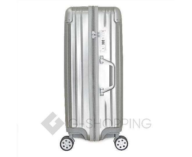 Пластиковый чемодан на колесиках серебристый  DL072 3,8кг, фото 6