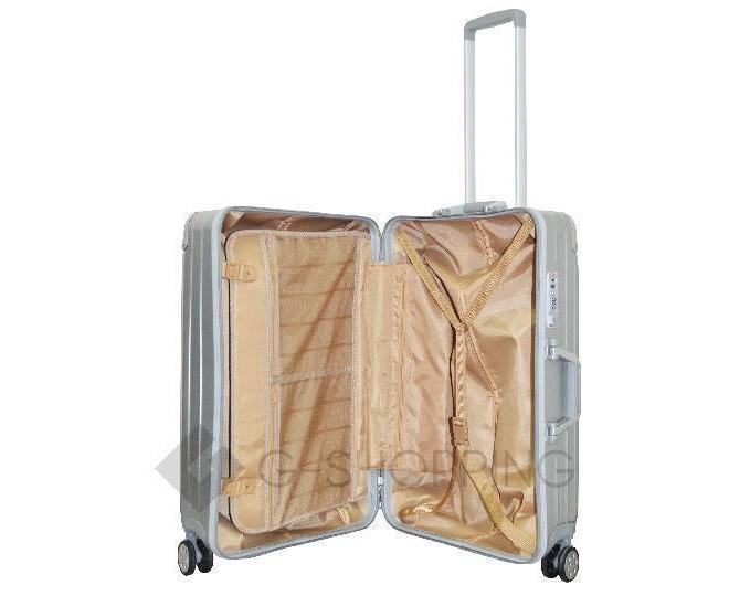 Пластиковый чемодан на колесиках серебристый  DL072 3,8кг, фото 7